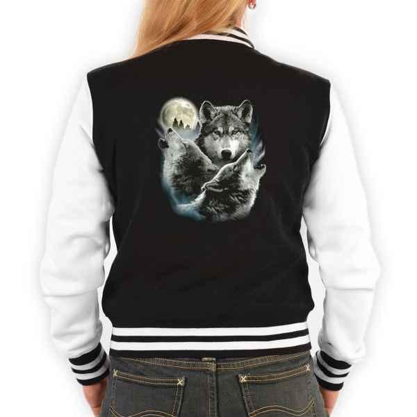 College Jacke Damen: 3 Wölfe mit Mond