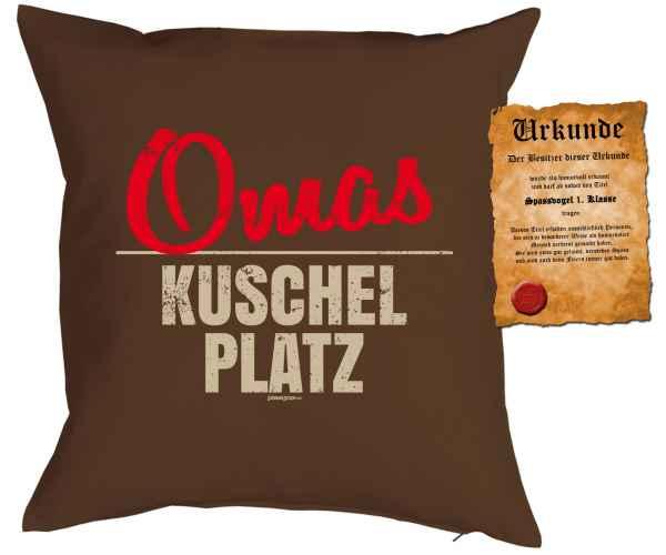 Kissenbezug mit Urkunde: Omas Kuschel Platz
