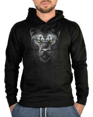 Kapuzensweater: Wildcat Hoodie Majestic Panther with green eyes