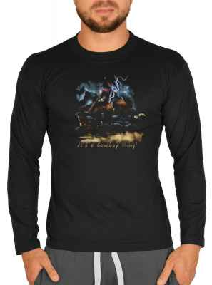 Langarmshirt Herren: Bareback Riding - It s a Cowboy Thing!