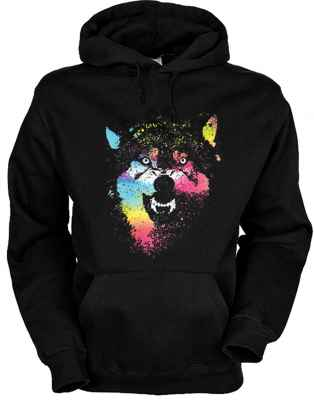Hoody: Colorful wolves