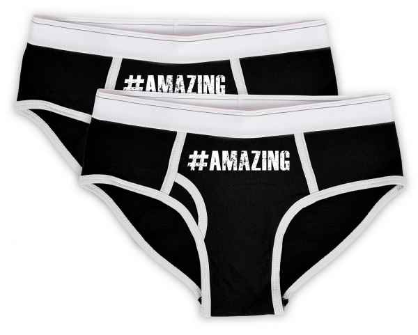 Slip Damen Set: Shorty 2 Stück Mitte vorne Motiv #Amazing