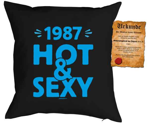 Kissen mit Füllung und Urkunde: 1987 Hot & Sexy