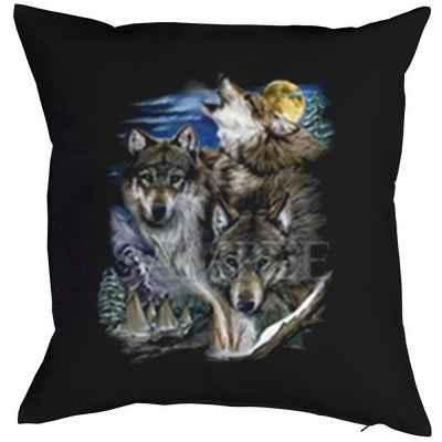 Kissenbezug: drei Wölfe mit Indianerdorf