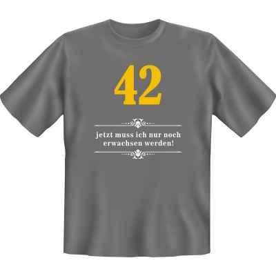 T-Shirt: Über 42 - Jetzt muss ich nur noch Erwachsen werden!