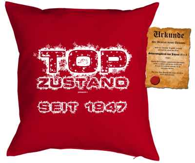Kissen mit Füllung und Urkunde: Top Zustand seit 1947