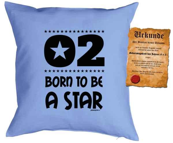 Kissen mit Füllung und Urkunde: 2 Born to be a star