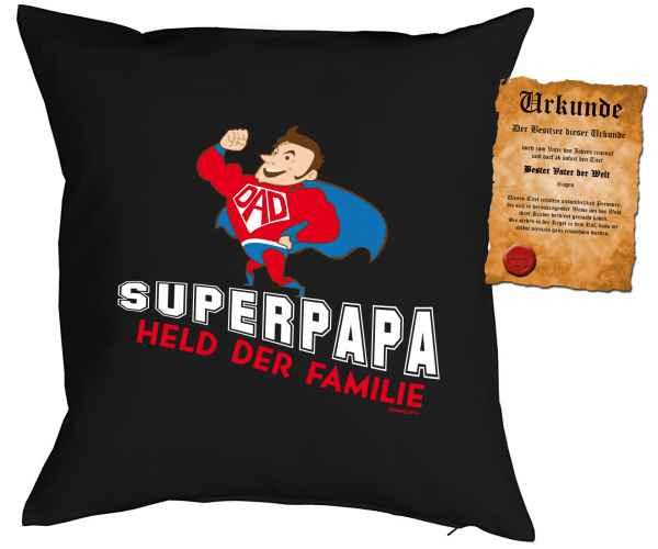Kissen mit Füllung und Urkunde: Superpapa Held der Familie