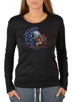 Langarmshirt Damen: Stars and Stripes Eagle - Righteouos Ruler