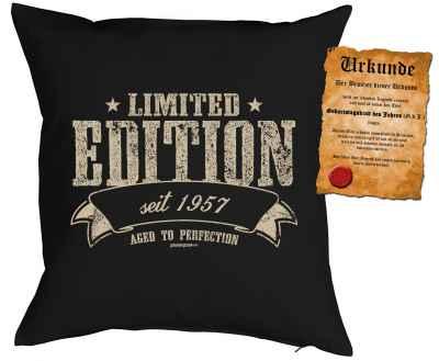 Kissenbezug mit Urkunde: Limited Edition seit 1957 aged to perfection