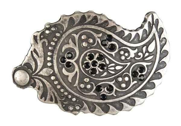Gürtelschliesse: Ornamente mit Straß 9,3 x 6 cm 40 mm