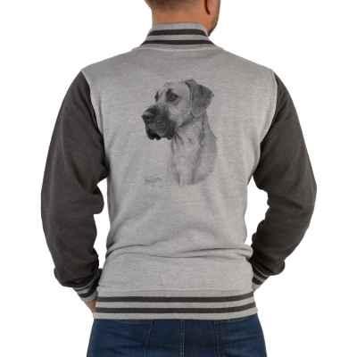 College Jacke Herren: Dogge (Schwarz-Weiß-Zeichnung)