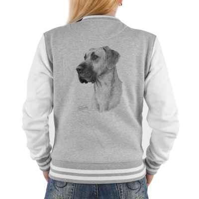 College Jacke Damen: Dogge (Schwarz-Weiß-Zeichnung)