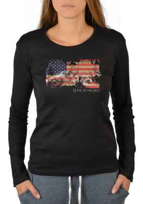 Langarmshirt Damen: American Flag - Home of the Free