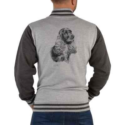 College Jacke Herren: Cocker Spaniel (schwarz-weiß Zeichnung)