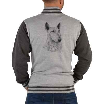 College Jacke Herren: Bullterrier (schwarz-weiß Zeichnung)