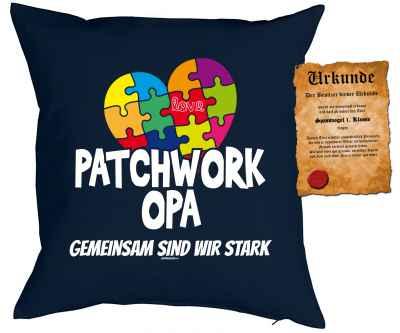 Kissen mit Füllung und Urkunde: Patchwork Opa Gemeinsam sind wir stark