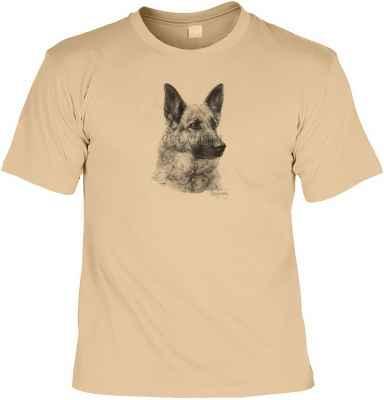 T-Shirt: Deutscher Schäferhund (schwarz-weiß Zeichnung)