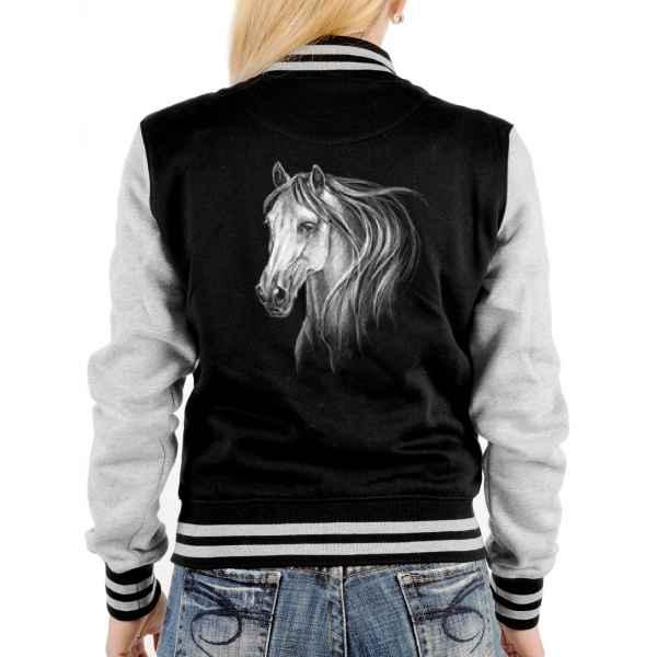 College Jacke Damen: weißes Pferd - Schimmel