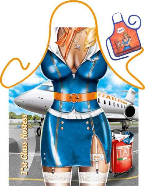 Motiv-Schürze mit kleiner Schürze: 1st Class Hostess