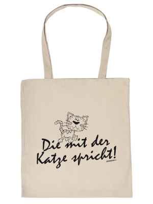 Stofftasche: Die mit der Katze spricht!