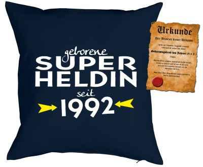 Kissen mit Füllung: geborene Super Heldin seit 1992