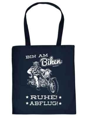 Stofftasche: Bin am Biken - Ruhe! - Abflug!