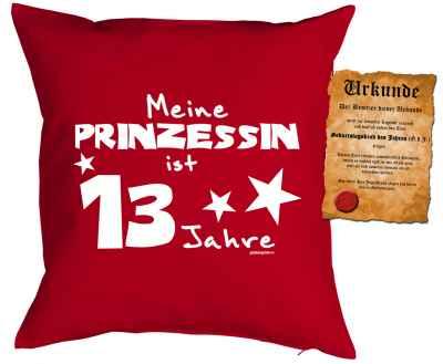 Kissenbezug mit Urkunde: Meine Prinzessin ist 13 Jahre