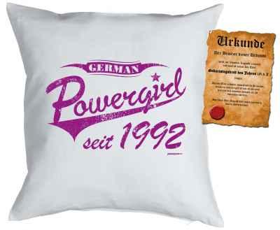 Kissenbezug mit Urkunde: German Powergirl seit 1992