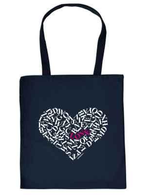 Stofftasche: Buchstaben-Herz