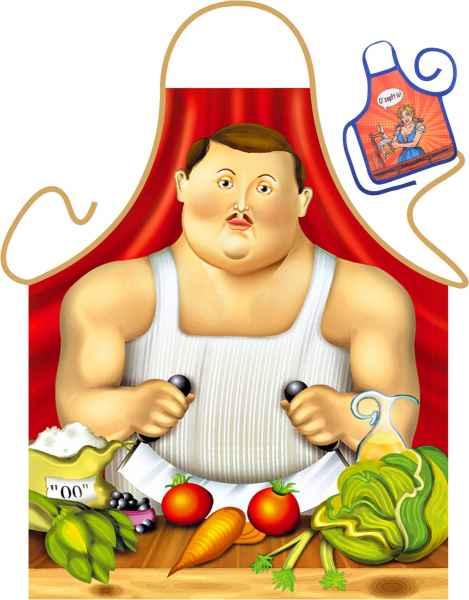 Motiv-Schürze mit kleiner Schürze: Botero Mann