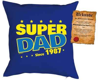 Kissenbezug mit Urkunde: Super Dad since 1987