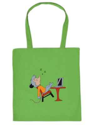 Stofftasche: Maus vor PC