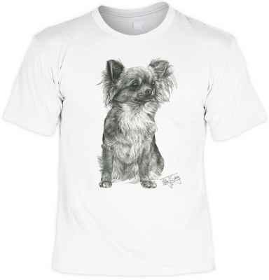 T-Shirt: Chihuahua (Schwarz-weiß-Zeichnung)