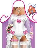 Motiv-Schürze mit kleiner Schürze: Braut mit Urkunde