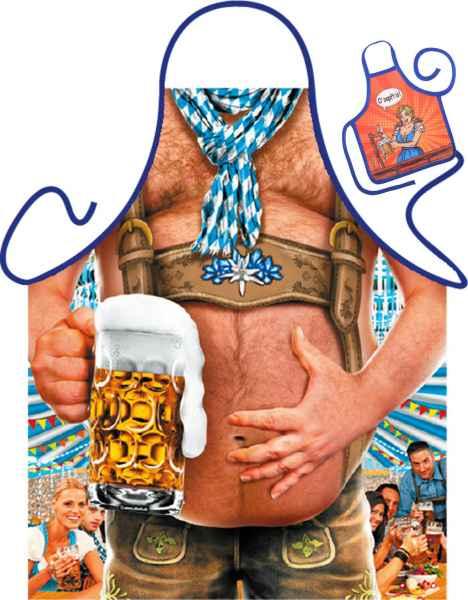 Motiv-Schürze mit kleiner Schürze: Bierbauch mit Urkunde