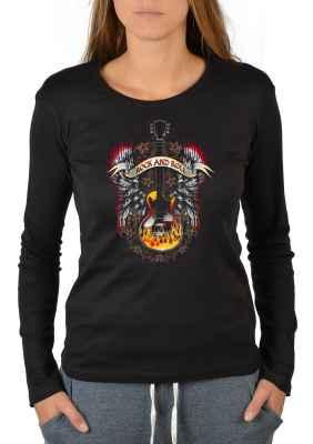 Langarmshirt Damen: Rock n Roll Guitar