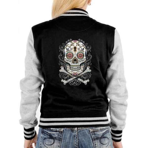 College Jacke Damen: floral Skull