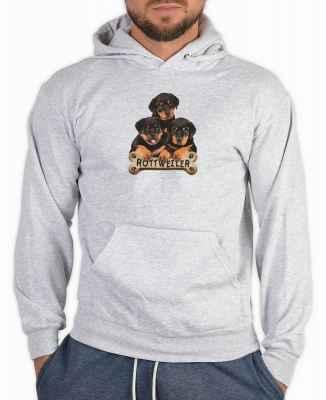 Kapuzensweater: 3 Rottweilerwelpen mit Knochen