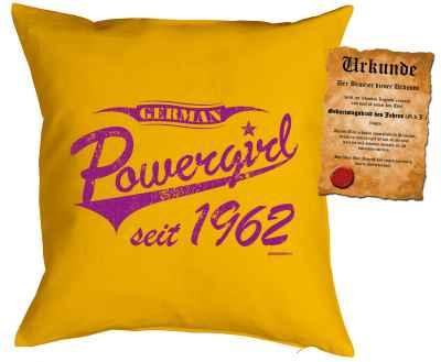 Kissenbezug mit Urkunde: German Powergirl seit 1962