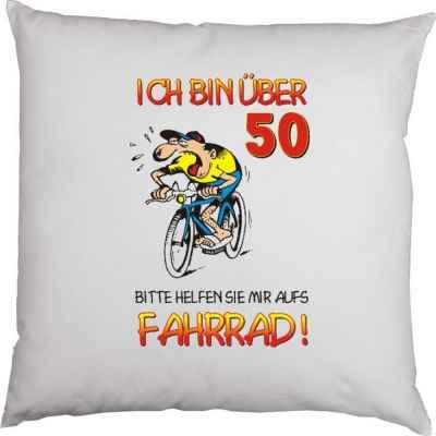 Kissen mit Füllung: Ich bin über 50! Bitte helfen Sie mir aufs Fahrrad!