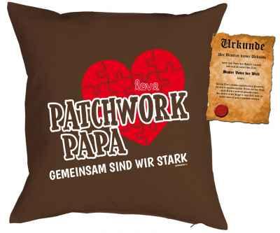 Kissenbezug mit Urkunde: Patchwork Papa Gemeinsam sind wir stark