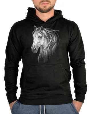 Kapuzensweater: weißes Pferd - Schimmel