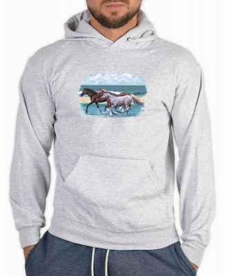 Kapuzensweater: Beach Run - galoppierende Pferde am Strand