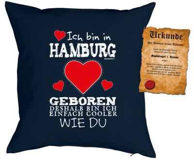 Kissen mit Füllung und Urkunde: Ich bin in Hamburg geboren deshalb bin ich einfach cooler wie du