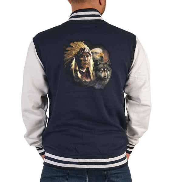College Jacke Herren: Indianer mit Adler und Wolf