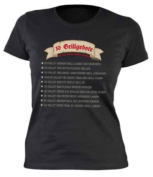 Damen T-Shirt: 10 Grillgebote die das Grillen leichter machen